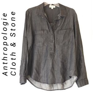 Anthropologie Chambray Popover Top | Cloth & Stone